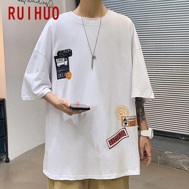 [해외] RUIHUO 프린트 캐주얼 하라주쿠 T 셔츠 남성 의류 T