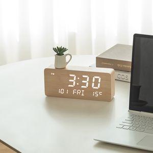 날짜 요일 온도 알람 LED 우드 탁상 책상 시계 메이플