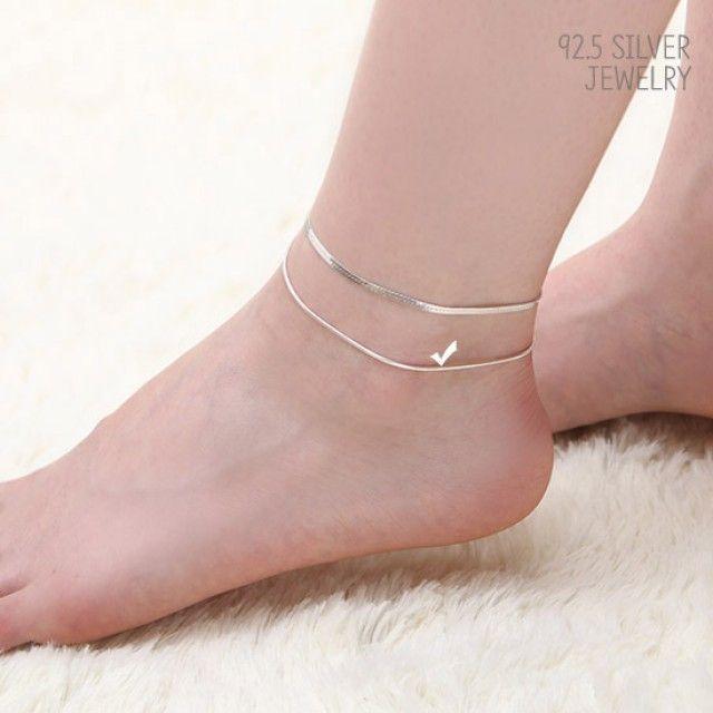 韩国直邮 92.5 Silver松饼洞字线银色链条脚链JM 149