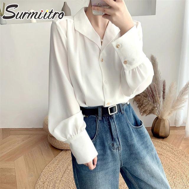 [해외] SURMIITRO 빈티지 셔츠 여성 2021 패션 봄 여름 느슨
