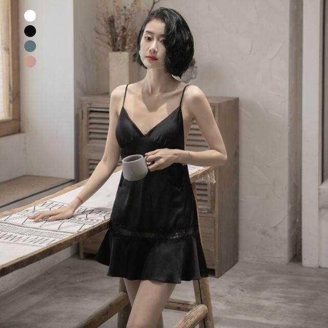 W 키밍 여자 실크 여름속옷 슬립 잠옷 레이스 러블리