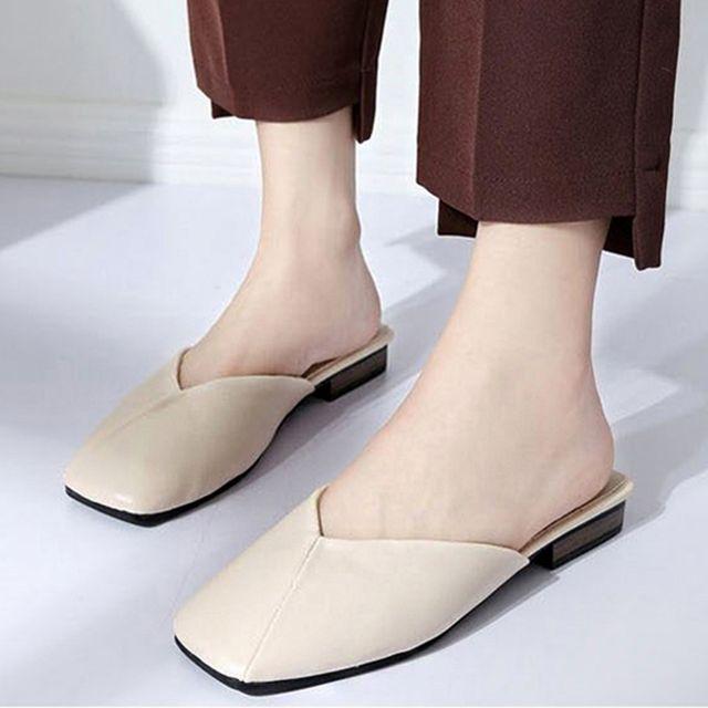 W 사각코 사선 포인트 여자 패션 슈즈 슬리퍼 블로퍼
