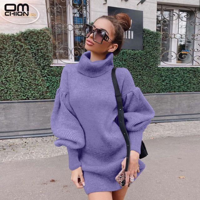 [해외] OMCHION 여성용 하이 칼라 랜턴 슬리브 니트 스웨터