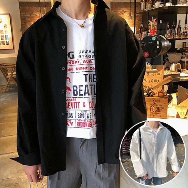 W 기본 무지 남성 셔츠 베이직 루즈핏 캐쥬얼남방