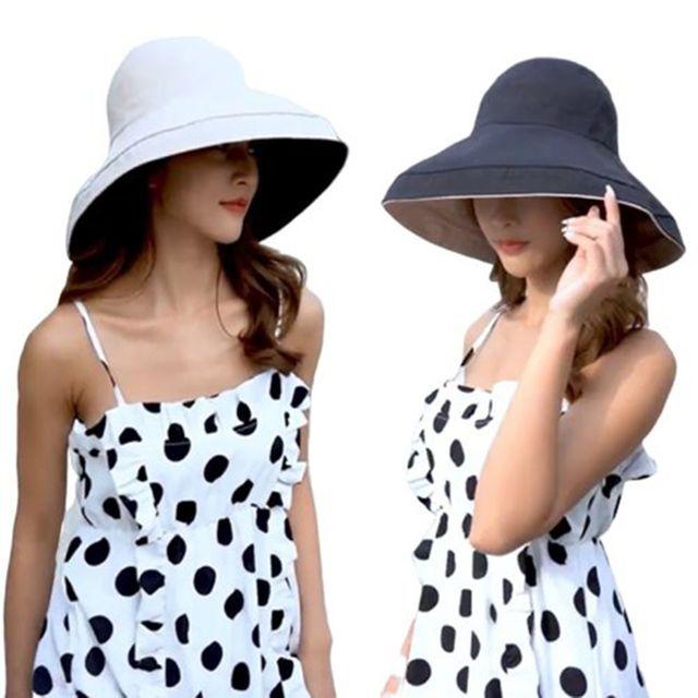 W 여자 나들이 휴양지 바캉스 패션 양면 챙큰 모자