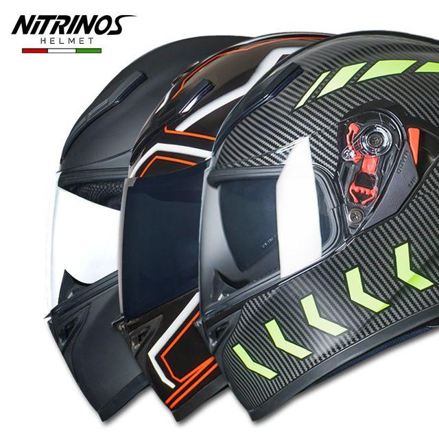 [해외] NITRINOS 탄소 섬유 패턴 오토 헬멧