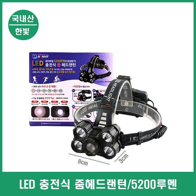 헤드랜턴 줌기능 USB충전 LED 램프 등산 낚시 구조용