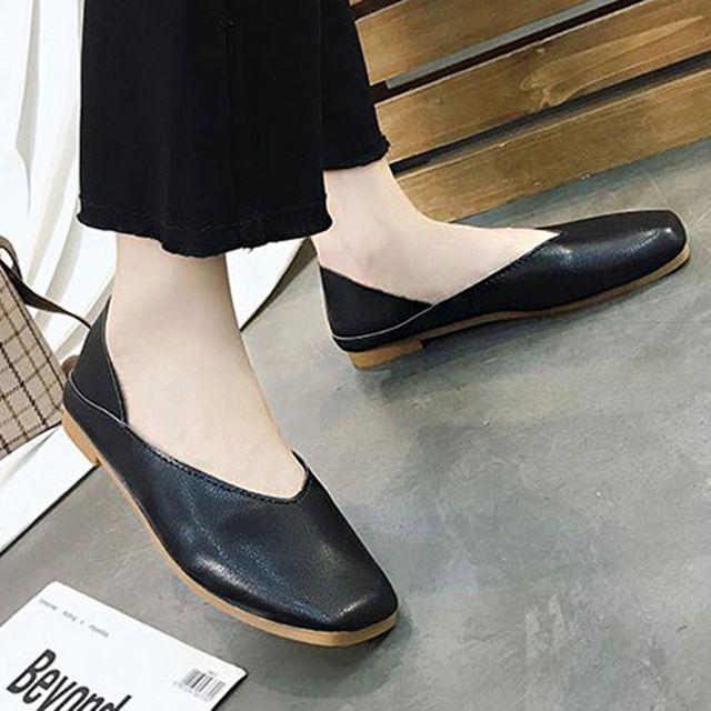 W 접어서 신어도 되는 여자 신발 편한 무지 플랫슈즈