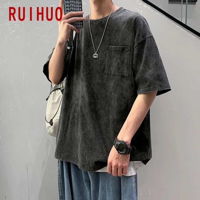 [해외] RUIHUO 캐주얼 하라주쿠 T 셔츠 남성 의류 일본 Stree