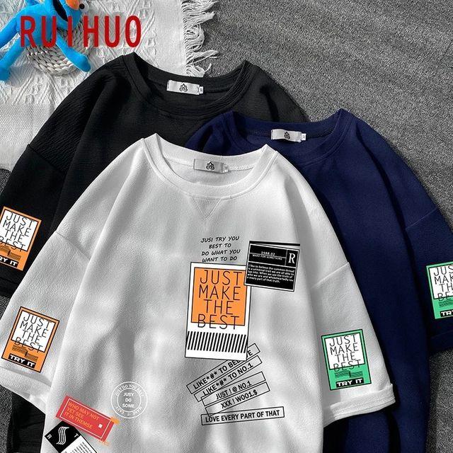 [해외] RUIHUO 코튼 T 셔츠 남성 의류 반소매 T 셔츠 남성용