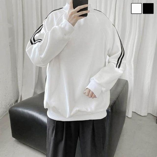 W 반목 스타일 남자 패셔너블 데일리룩 긴팔 티셔츠