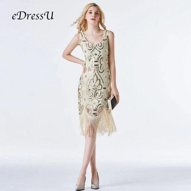 [해외] Edressu 골드 빈티지 개츠비 드레스 2019 vestido pai