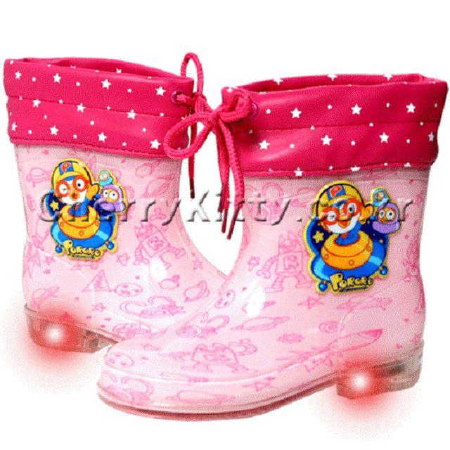 아동장화 뽀로로 불빛장화 핑크 어린이장화 키즈장화