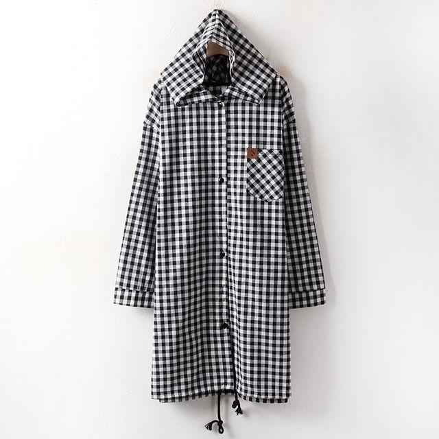 【韩国直邮】韩国 格子风衣MN3229大码