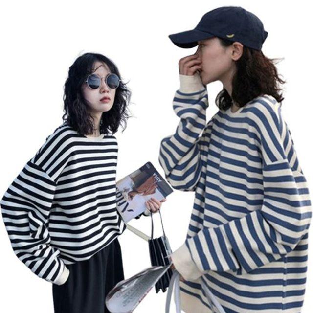 W 여자 줄무늬 스트라이프 루즈핏 긴팔 라운드 티셔츠