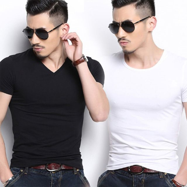 W 편안하게 입는 남자 무지 반팔 라운트 브이넥 티셔츠