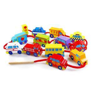 4살 아이 장난감 고급 원목 실꿰기 놀이세트 교통