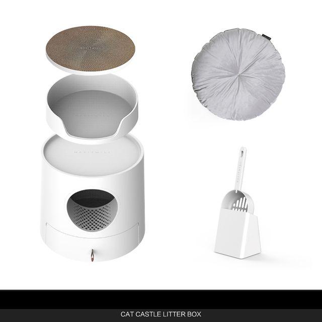 [해외] 고양이 화장실+쿠션 밀폐형 캣토일렛 모래박스