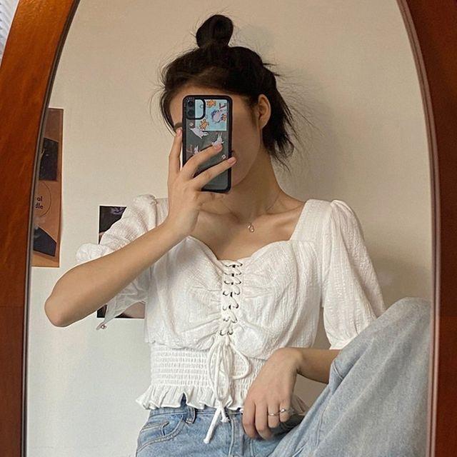 [해외] 여성 패션 티셔츠 스퀘어 칼라 셔츠 캐주얼