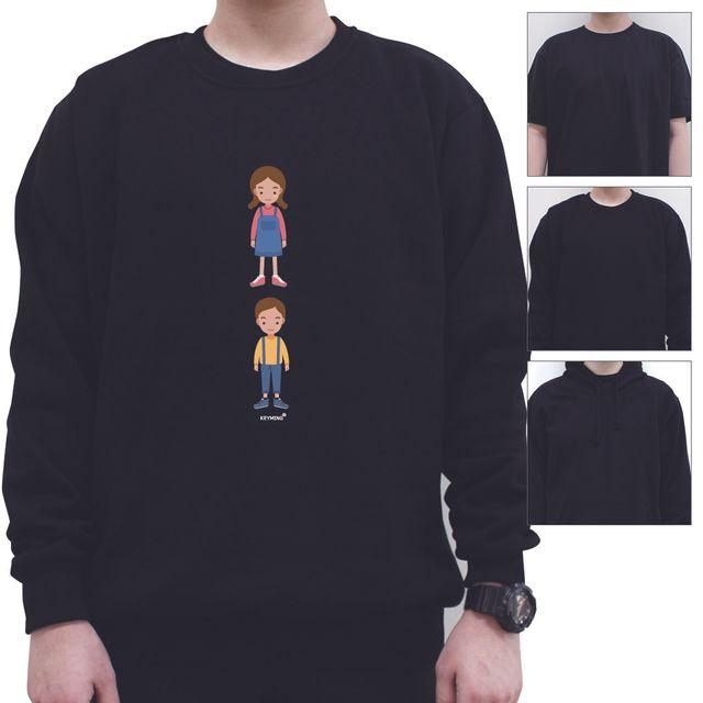 W 키밍 소년 여성 남성 티셔츠 디자인 후드 맨투맨 반팔