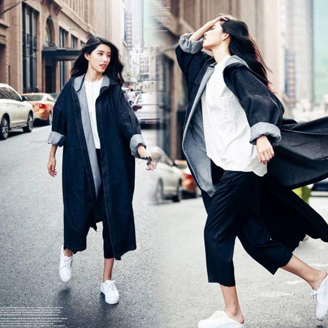 공항 패션 봄 가을 청 데님 사파리 롱 후드 자켓 블랙