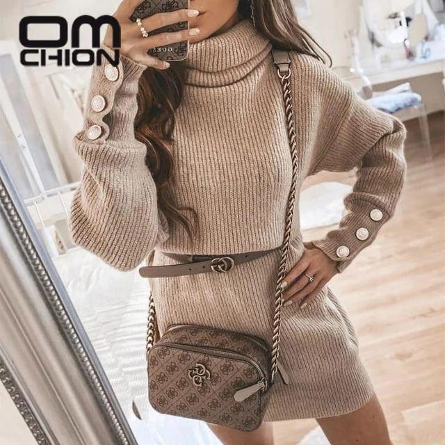 [해외] OMCHION 2021 가을 겨울 패션 터틀넥 긴 소매 스웨터