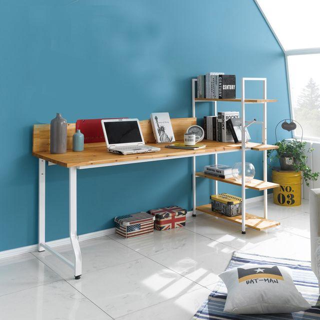 원목 철제 1인용 책상 책장 테이블 세트 1500
