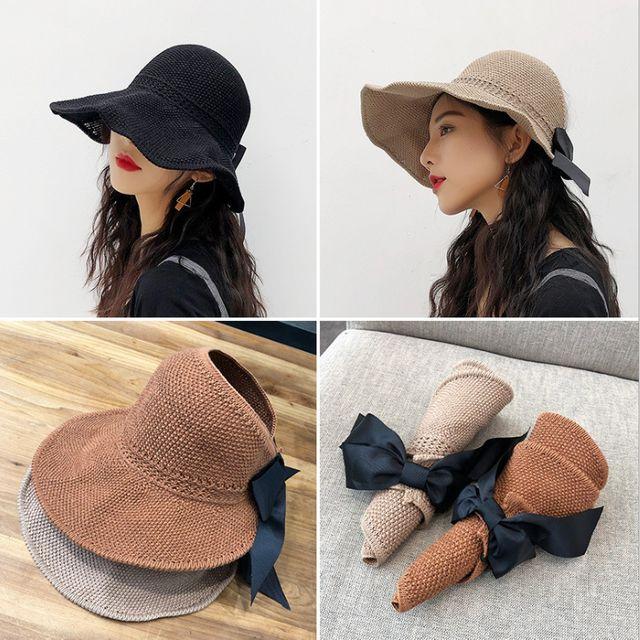 W 니트 썬캡 여성 여름 모자 바캉스 비치 돌돌이