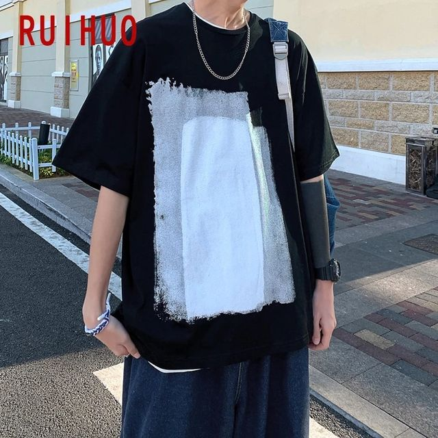 [해외] RUIHUO 캐주얼 하라주쿠 T 셔츠 남성 의류 남성 T 셔