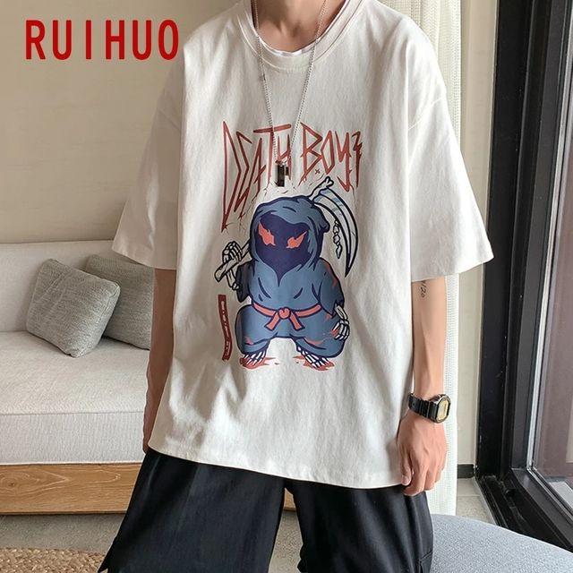 [해외] RUIHUO 남성 의류 캐주얼 T 셔츠 일본 Streetwear 남