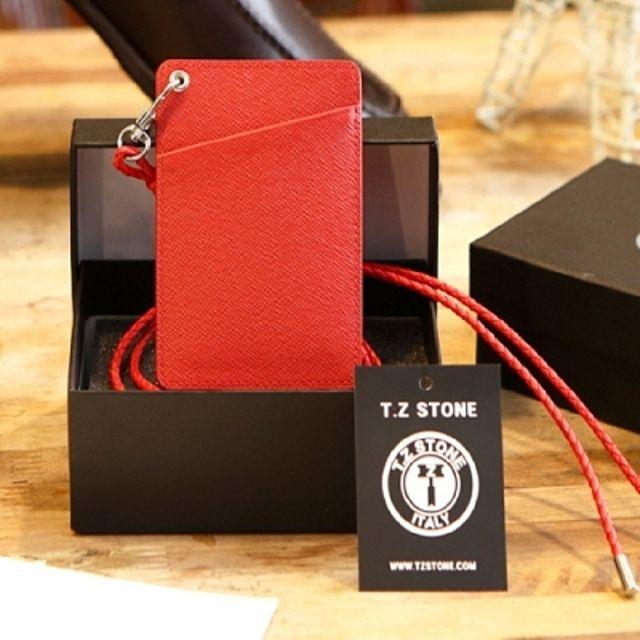 【韩国直邮】TZ 142卡钱包项链卡壳皮革牌子钢琴红色项链型(斜线型)