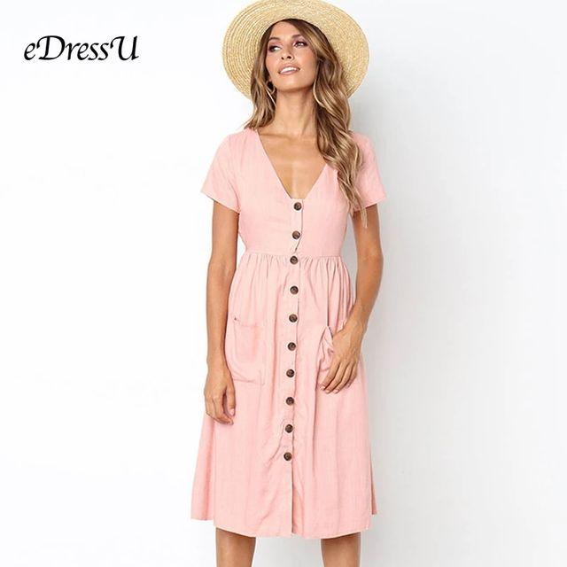 [해외] 9 색 핑크 여름 드레스 화이트 탄성 짧은 소매 부르고
