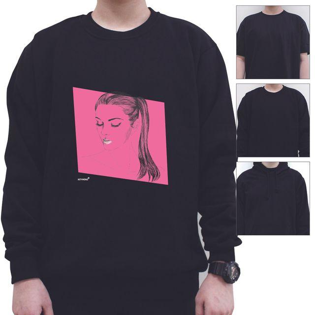 W 키밍 포니테일 여성 남성 티셔츠 후드 맨투맨 반팔티