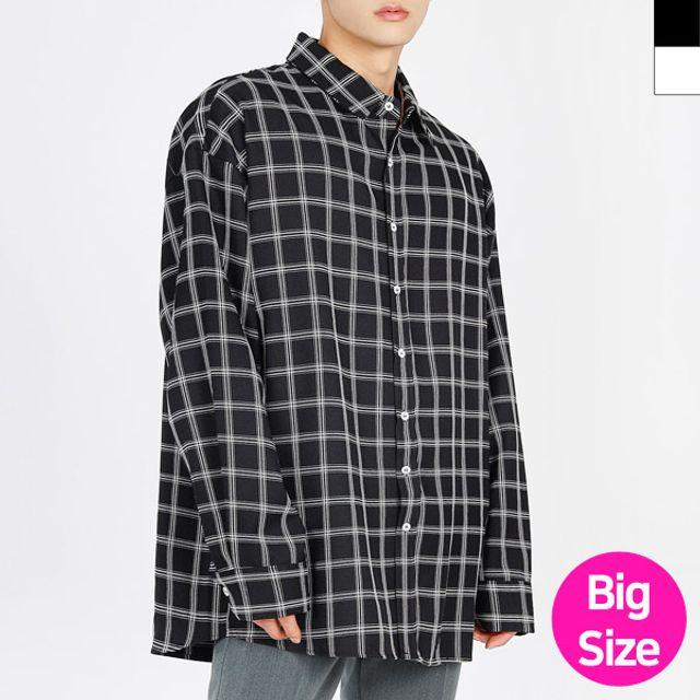 W 남성 빅사이즈 편한 사각 체크무늬 남방 셔츠
