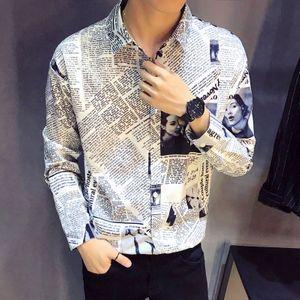 611eb96fad7 가을신상 남성 긴팔셔츠 캐주얼 패션 프린트셔츠
