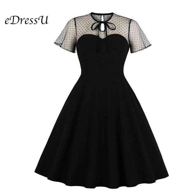 [해외] Edressu 1950s 빈티지 블랙 우아한 드레스 칵테일 파