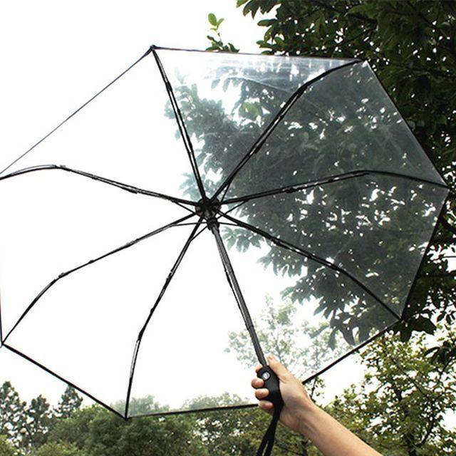 여름 가을 기본 투명 비닐 3단 완전 자동 우산 블랙