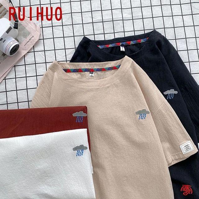 [해외] RUIHUO 반소매 빈티지 T 셔츠 남성 의류 T 셔츠 남성