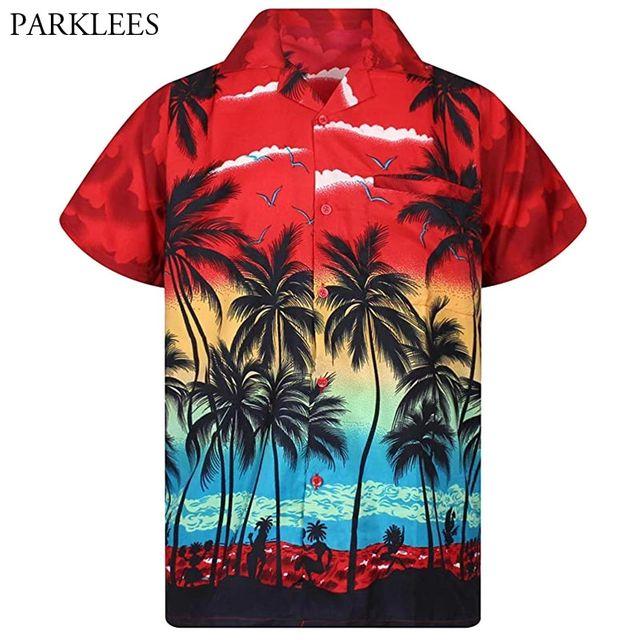 [해외] Mens Red Hawaiian Shirt 패션 팜 트리 프린트 비치웨