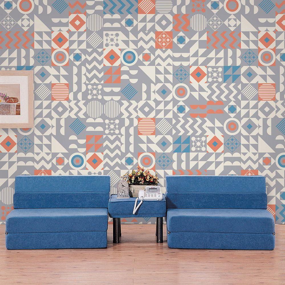 꼼지락단품디자인벽지gm-011(블루그레이) 1폭_100cmx240cm 풀바른水실크벽지 인테리어소품 벽지시공