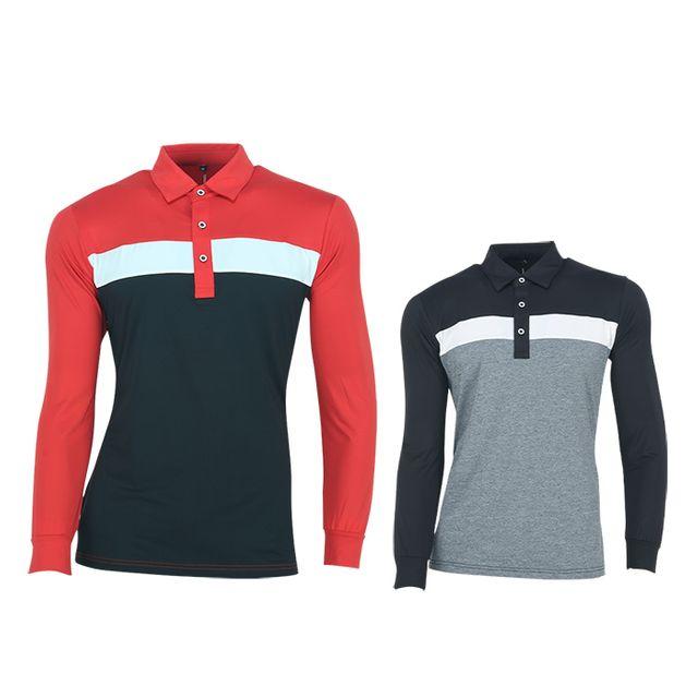 W TCC_페라어스 남성 카일 기능성 배색 골프 긴팔셔츠