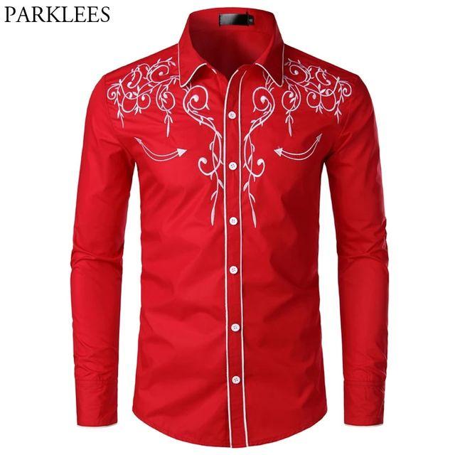 [해외] 꽃 자수 붉은 턱시도 셔츠 남성 2019 브랜드 슬림 긴