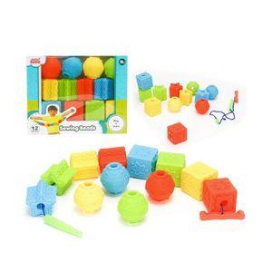 어린이집 장난감 블록 베이비 소프트 실꿰기 12P 3세