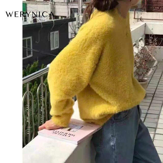 [해외] Werynica 여성 가을 겨울 밍크 벨벳 스웨터 한국어 스