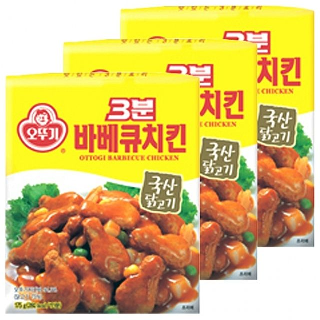 오뚜기)3분 바베큐치킨 175g x 12개 국내산 닭고기 양파 다짐 치킨바 옥수수 감자 영양간식,즉석,레토르트,간편,닭,고기