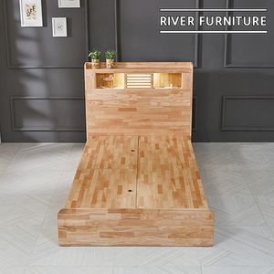 (리버퍼니쳐) 에반 고무나무원목 LED 수납형 침대 SS