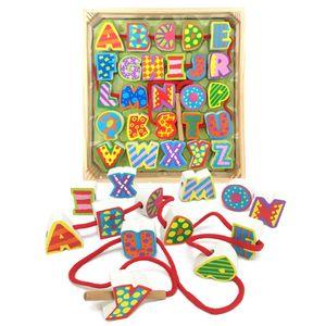 알파벳 실꿰기 교구 원목 장난감