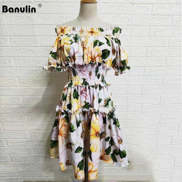 [해외] Banulin 2021NEW 여름 숄더 비치 파티 드레스 여성 꽃