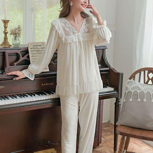 W 여성 데일리 홈웨어 예쁜 부분 레이스 잠옷 세트