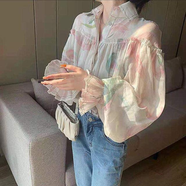 [해외] 여름 쉬폰 벌룬소매 루즈핏셔츠 여성 인화 블라우스